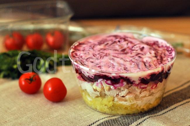 Salat med kylling og rødbeter